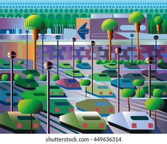 Modern Illustration of Shopping City