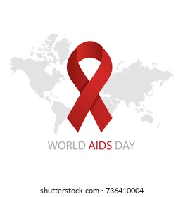 Modern  illustration of World Aids Day concept with text and red ribbon of aids on world map background