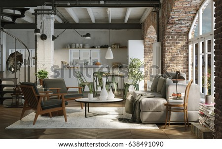 Modern Industrial Loft Apartment Downtown 3 D Stock Illustration ...
