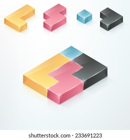 Modern infographics options banner with 3d colorful tetris blocks. Rasterised copy. Can be used for web design and  workflow layout