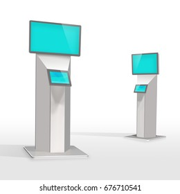Modern information convention center, ticket, retail kiosks, touch screen self-serve electronic digital stations display