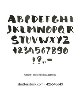 Modern ink Alphabet font. ABC painted letters with brush in modern calligraphy style. Capital letters and numbers