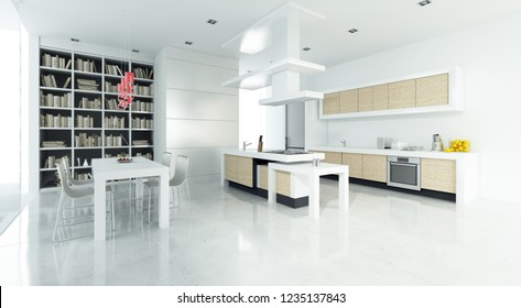 Modern interior 3D rendering showing dining room and open plan kitchen
