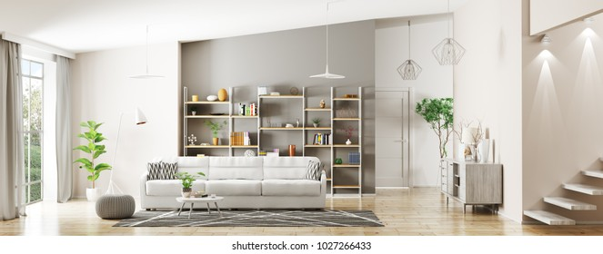 Modern interior of apartment, living room, hall panorama 3d rendering