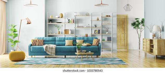 Modern interior of apartment, living room with sofa, hall panorama 3d rendering
