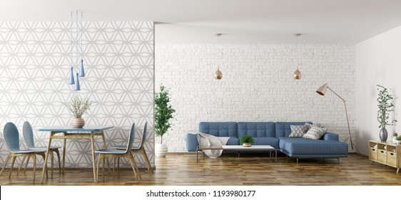 Modern interior of apartment, living room with blue corner sofa and dining area with table and chairs 3d rendering