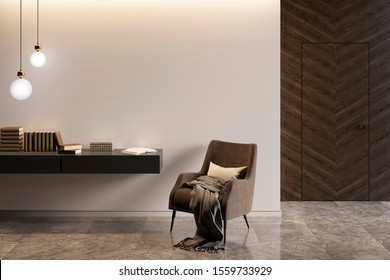 Modern interior with an armchair and a stand with decor, marble flooring and a dark wooden door. 3d illustration