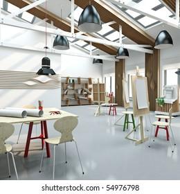modern interior of artist`s workshop. High resolution illustration.