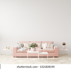 Modern interior background, wall mock up, 3d render