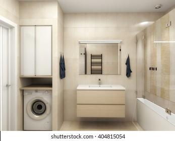 Modern interior of a bathroom 3D rendering