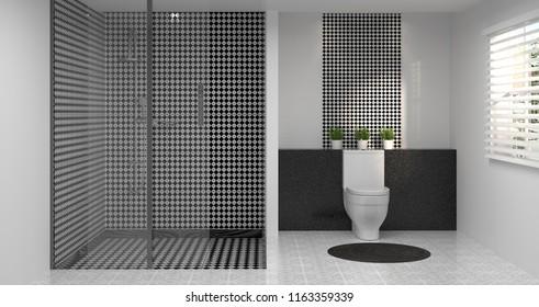 Dark color interior bathroom toiletshowermodern home stock