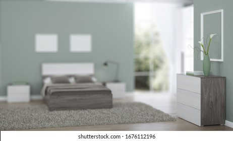 Modern interior of a bedroom with light green walls. 3D rendering.