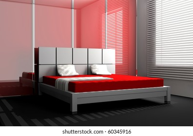 Modern interior room red wall white stock illustration 171653438