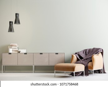 Modern interior with a chest of drawers and a chair in a modern style with empty wall. 3D rendering