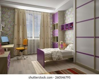 Modern interior of a children's room 3D rendering