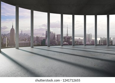 Modern interior with columns and beautiful city view. 3D Rendering