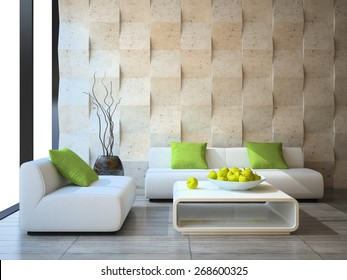 modern interior with concrete wall panels 3D rendering