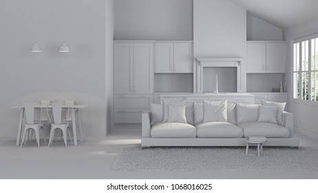 Modern interior of a country house. Repairs. Gray interior. 3D rendering.