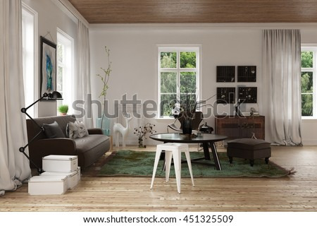 Modern interior decor scandinavian loft living stockillustration