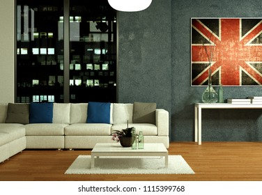 modern interior design appartment night scene 3d Illustration