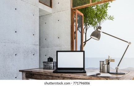 The modern interior design of bussiness concept and notebook computer working area and sea view background and lamp table / 3D rendering new model