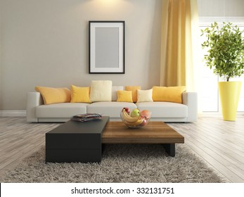 modern interior design with carpet and stand 3d rendering