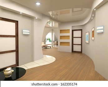 modern interior design (computer generated image 3D)