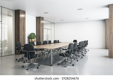 Modern interior design of conference room with big wooden table, black chairs around, concrete floor and white wall and top. 3D rendering