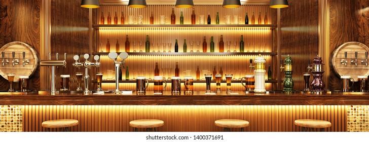 Modern interior design of a European pub. Beer on the bar. 3d rendering
