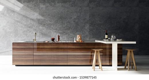 modern interior design kitchen, dark tone stone slab wall with bright floor, high contrast, 3d render, 3d illustration