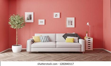 modern interior design. Living color concept. 3d rendering