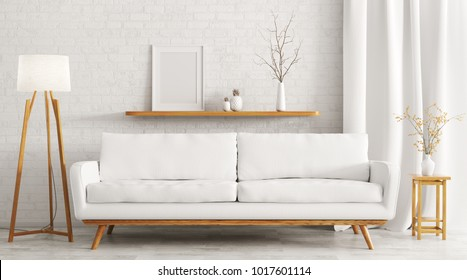 Modern interior design of living room with white sofa, shelf and floor lamp over brick wall 3d rendering