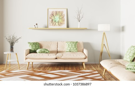 Modern interior design of living room with sofa,shelf, rug and floor lamp 3d rendering