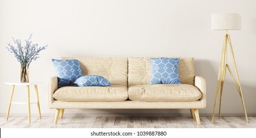 Modern interior design of living room with beige sofa, floor lamp and vase with flower branches 3d rendering