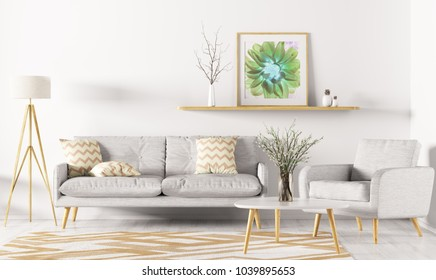 Modern interior design of living room with sofa, shelf, rug, armchair and floor lamp 3d rendering