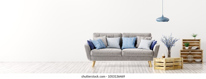 Modern interior design of living room with gray sofa and blue cushions over white wall panorama 3d rendering