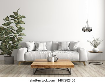 Modern interior design of living room with sofa, wooden coffee table, against white wall 3d rendering