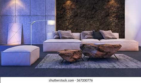 Modern Interior Design Living Room 3 D Stock Illustration 477440032