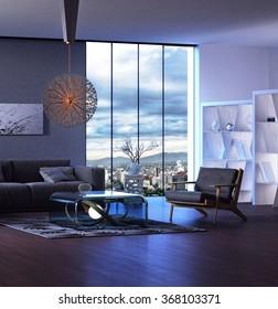 Modern interior design of living room 3D rendering