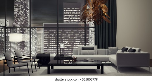 Modern interior design of living room 3D illustration, 3D rendering