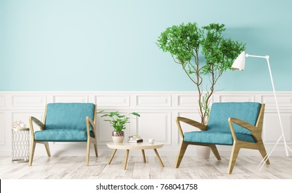 Modern interior design of living room with wooden coffee table and two armchairs 3d rendering