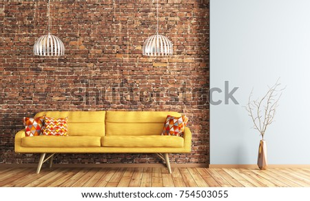 brick living room furniture. h modern interior design of living room with yellow sofa and lamps over brick  wall 3d rendering