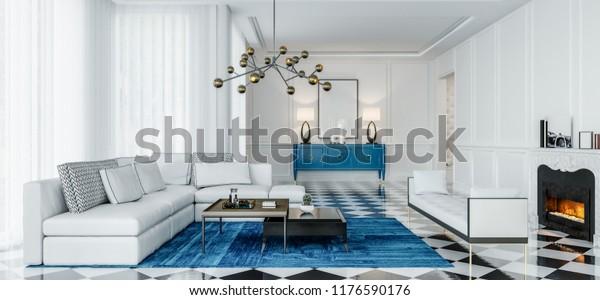 Modern Interior Design Living Room Blue Stock Illustration 1176590176