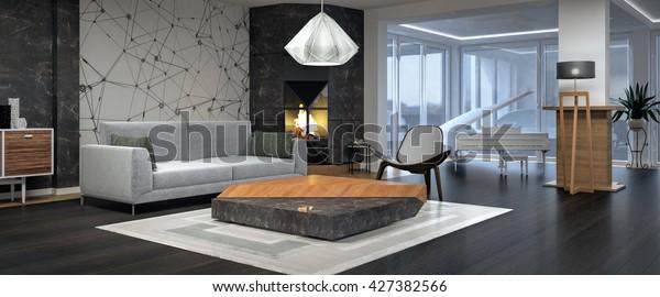 Modern interior design of living room 3D illustration, 3D rendering