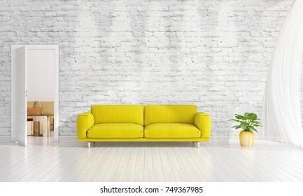 Modern interior design of livingroom in vogue with plant, yellow divan, copyspace. Horizontal arrangement. 3D rendering