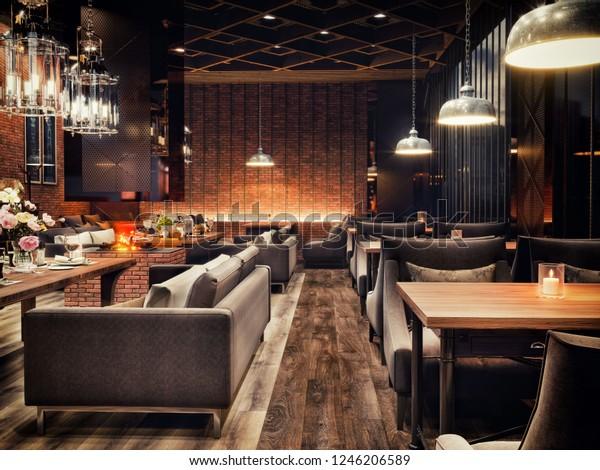 Modern Interior Design Restaurant Chair Small Stock Illustration 1246206589