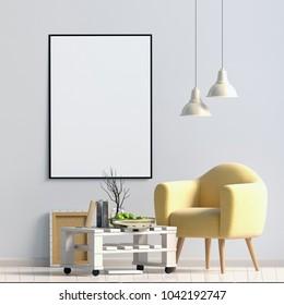 Modern interior design in Scandinavian style. Mock up poster. 3D illustration.