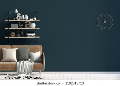 Modern interior design in Scandinavian style with sofa and shelf. Mock up wall. 3D illustration.