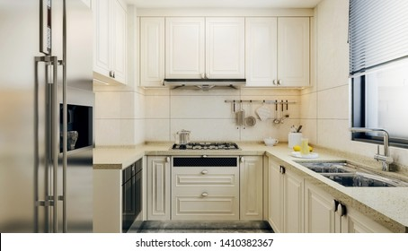 Modern interior design of small kitchen,  bright colored kitchen elements with beige tiles and window above sink, 3d rendering