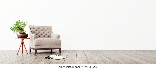 Modern interior design with white empty mock-up wall and beige armchair 3D Rendering, 3D Illustration